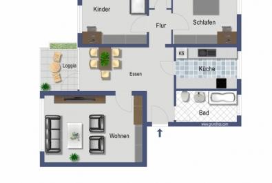 Hübsche, luftige Wohnung für eine Familie